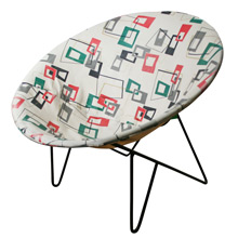 Atomic-Age Hoop Chair W/ Oilcloth Seat C1965