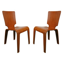 Pair of Thaden-Jordan Molded Plywood Side Chairs C1947