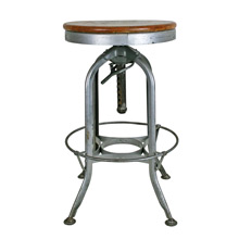 Adjustable Height Toledo Factory Stool W/ Maple Seat C1930