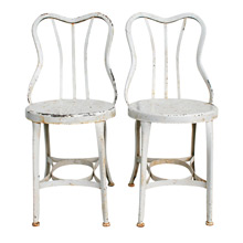Pair of Chipped White Toledo Cafe Chairs, C1910