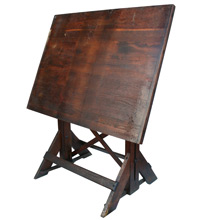 Dark Oak Drafting Table W/ Trestle Base C1935