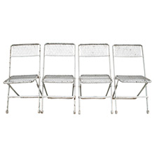Set of 4 Mid-Century Wire Patio Folding Chairs C1940s