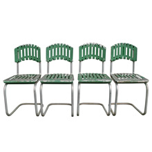 Set of 4 Mint Green Aluminum Patio Chairs C1940s