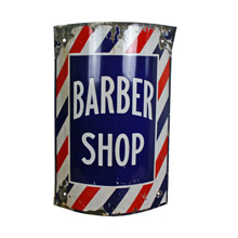 Brightly Colored Porcelain Enamel Barber Shop Sign C1915