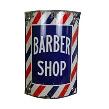 Brightly Colored Porcelain Enamel Barber Shop Sign C1915