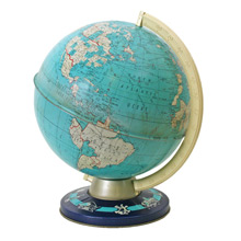 Ohio Art Metal Globe W/ Wonders of the World Base C1960
