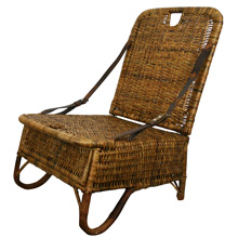 Wonderfully Rustic Wicker and Leather Canoe Chair C1920
