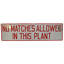 Porcelain Enamel No Matches Sign C1930