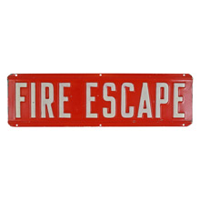 Vintage Stamped Metal Fire Escape Sign C1960s