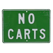 Vintage Stamped Metal No Carts Sign C1960s