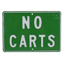 Vintage Stamped Metal No Carts Sign C1960s
