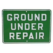Vintage Stamped Metal Ground Repair Sign C1960s