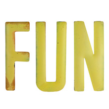 Rustic Yellow FUN Sign C1940s