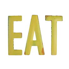 Rustic Yellow EAT Sign C1940s