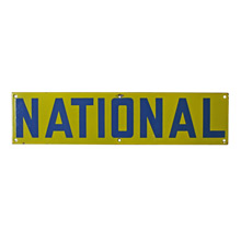 Blue and Yellow Porcelain Enamel NATIONAL Sign C1960s