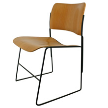 Iconic 40/4 Oak Veneer Stacking Chair by David Rowland C1960s