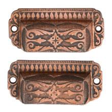 Pair of Renaissance Revival Cast Iron Bin Pulls W/ Copper Plating C1870