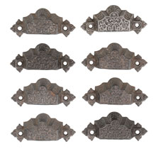 Set of 8 Renaissance Revival Cast Iron Bin Pulls C1872