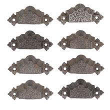Set of 8 Renaissance Revival Cast Iron Bin Pulls C1872