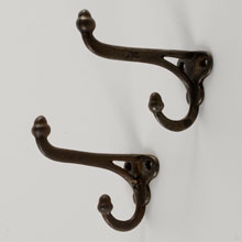 Pair of Cast Iron Double Acorn Hooks, c1865