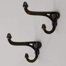 Pair of Cast Iron Double Acorn Hooks, c1900