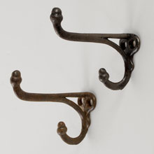 Classic Pair of Long, Thin Acorn Hooks, c1910