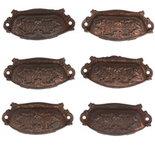 Set of 6 Renaissance Revival Bin Pulls W/ Woven Filigree Motif C1880