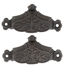 Lovely Pair of Cast Iron Renaissance Revival Bin Pulls C1870