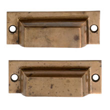 Pair of Patinated Cast Brass Bin Pulls C1925