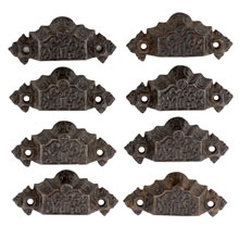 Set of 8 Renaissance Revival Cast Iron Bin Pulls W/ Baked-On Black Enamel Finish C1870