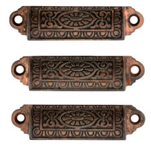 Trio of Cast Iron Bin Pulls W/ Faded Copper Plating C1880