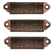 Trio of Cast Iron Bin Pulls W/ Faded Copper Plating C1880