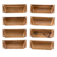 Set of 8 Brushed Brass Square Pulls C1920