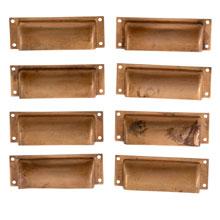 Set of 8 Brushed Brass Square Pulls C1920