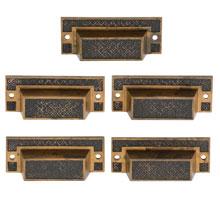 Set of 5 Cast Brass Bin Pulls W/ Floral Fieldwork Patter C1890