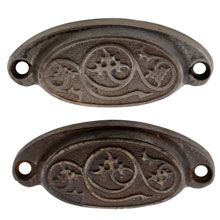 Pair of Petite Rounded Cast Iron Bin Pulls W/ Swirling Leaf Motif C1880