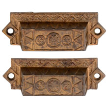 Pair of Gilt Cast Iron Eastlake Bin Pulls W/ Floral Motif C1885