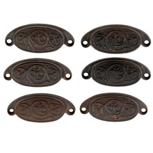 Set of 6 Rounded Cast Iron Bin Pulls W/ Swirling Leaf Motif C1880