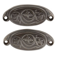 Pair of Rounded Eastlake Bin Pulls W/ Swirling Leaf Motif C1880
