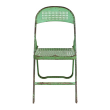 Charming Green Perforated Metal Folding Chair C1940s