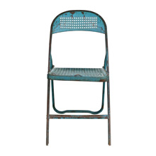 Charming Blue Perforated Metal Folding Chair C1940s