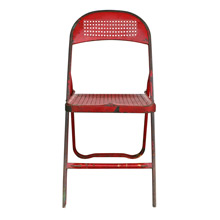Charming Red Perforated Metal Folding Chair C1940s