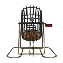 Bingo Cage with Balls and Bakelite Handle C1940s
