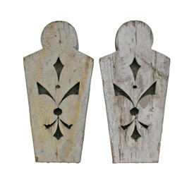 Pair of Queen Anne Style Carved Wooden Keystone Blocks C1895