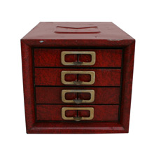 New Old Stock Red Metal Parts Cabinet C1960s