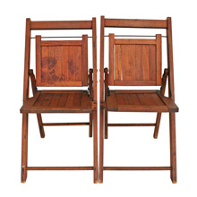 Pair of Vintage Oak Children's Folding Chairs C1930s