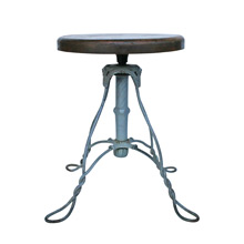 Wrought Wire Work Piano Stool W/ Oak Seat C1890