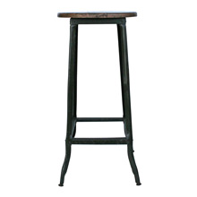 Tall Industrial Factory Stool W/ Wood Seat C1920s