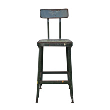 Weathered Workshop Stool by Lyon C1920s