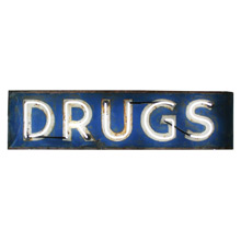 Blue and White Neon Drugs Sign C1950